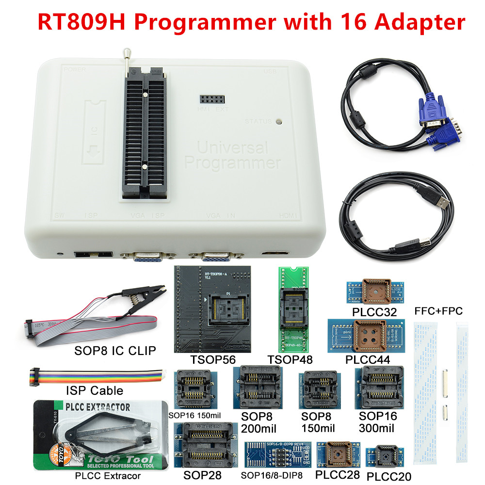 Free shipping Original Universal Programmer RT809H 16 Adapters Better than RT809F with Best Quality