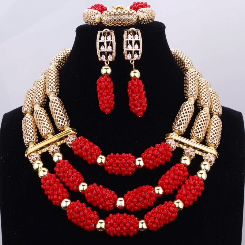 Fabulous Red New Gold Fashion Jewelry Set Three Layers Crystal Nigerian Beads Necklaces Earring Bracelet Jewelry Sets For WomenFabulous Red New Gold Fashion Jewelry Set Three Layers Crystal Nigerian Beads Necklaces Earring Bracelet Jewelry Sets For Women