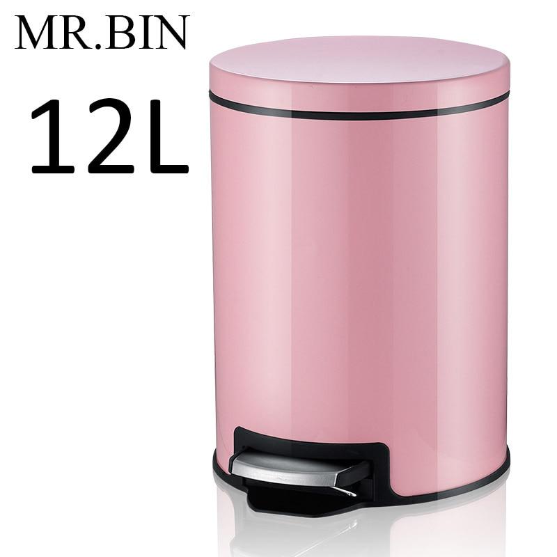 MR. BIN Макарон плюс мусорный бак с 5L/8L/12L ёмкость красочные педаль отходов Bin металлическая мусорная корзина для дома и кухня - Цвет: 12L Cherry Pink