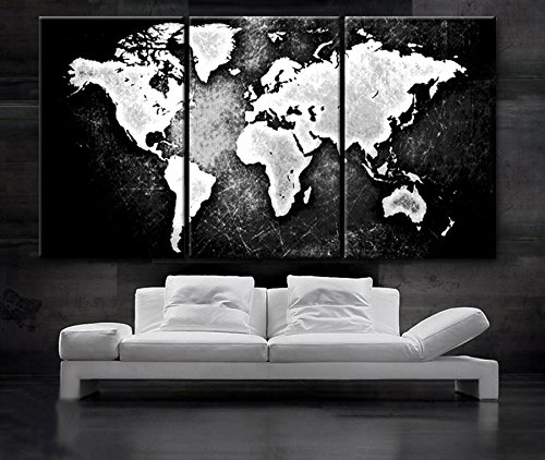 3 piece modern canvas painting world map wall art poster black and 3 piece modern canvas painting world map wall art poster black and white wall pictures for gumiabroncs Gallery