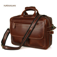 YUPINXUAN Large Capacity Cowhide Laptop Bag Oil Wax Leather Briefcases Men's Gift Handbags Vintage Cow Leather Hand Bag Russian