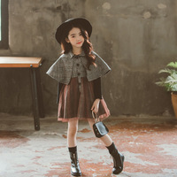 2018 new children fall winter cape plaid dress girls fine checks long jacketChristmas gift outwear kids vintage clothing