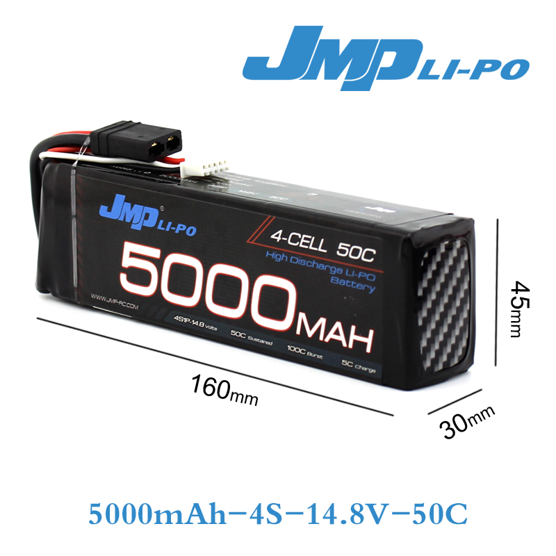 JMP Lipo Battery 4S 5000mAh Lipo 14.8V Battery Pack 50C Battery for 1/10 Car 1/8 RC Car for Traxxas Slash Emaxx Bandit 7 4v 500mah 50c lipo battery