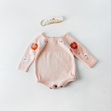 Everweekend Sweet Baby Girls Floral Embroidered Crochet Sweater Rompers Candy Pink Color Buttons Open Spring Autumn Clothes