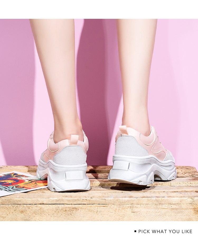 blanc Chaussures couleurs De Femmes Designer Sneakers Lacets Épais Noir Punk À Mode Vulcaniser Plate Printemps rose Mixte Semelles forme l1FKcJ