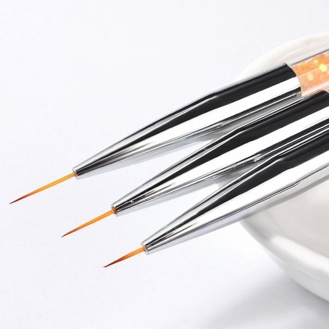 3Pcs/set Nail Art Line Brush Glitters Acrylic Ultra-thin Liner Drawing Painting Pen Flower Stripes Nail Art Manicure Tools MJS86 1