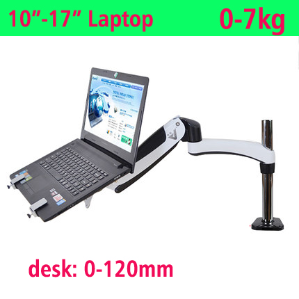 full motion aluminum air press gas spring dual arm laptop desktop Mount swivel monitor stand grommet hole clamp notebook tray
