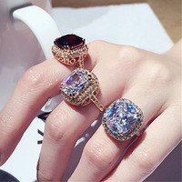 Brilliant Massive Amazing Large 6ct Ruby Diamond Ring 18K Gold Plated With Cubic Zirconia Engagement Jewelry