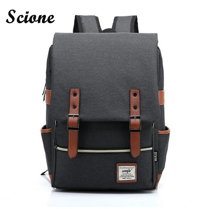 Fashion Women Men Daily Canvas Backpacks Large Capacity Computer Backpack for Laptop Casual Student School Bag