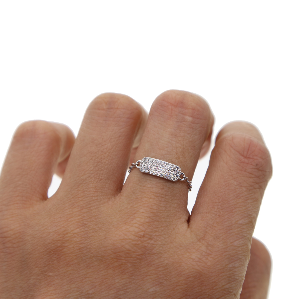 Sample Design New Rings silver Color AAA cubic Zircon Rings Wedding Chic chain charm Finger Jewelry for Women