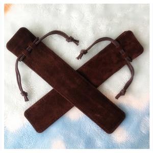 Image 4 - 100 adet/grup toptan 3.5*17.5cm siyah kırmızı kahve İpli kadife kalem çantası 14cm Stylus tükenmez kalem kadife çanta