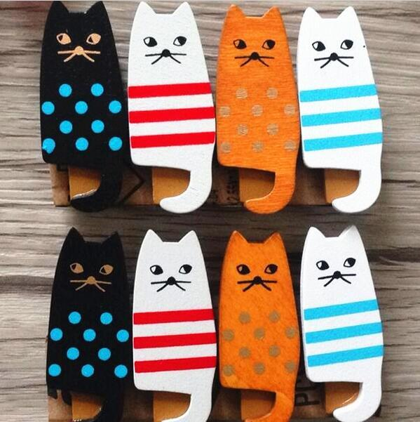 4PCS/lot  New lovely cat Wooden Clip Bag Paper Clip Special Gift Fashion wood pegs