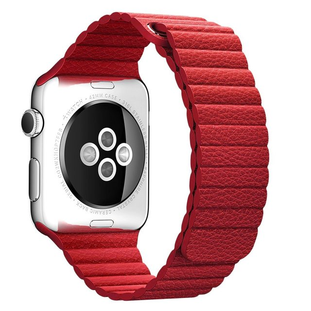 V-MORO Fashion Genuine Leather Watch strap With Strong Magnetic Closure Buckle For Apple Watch 38mm 42 mm