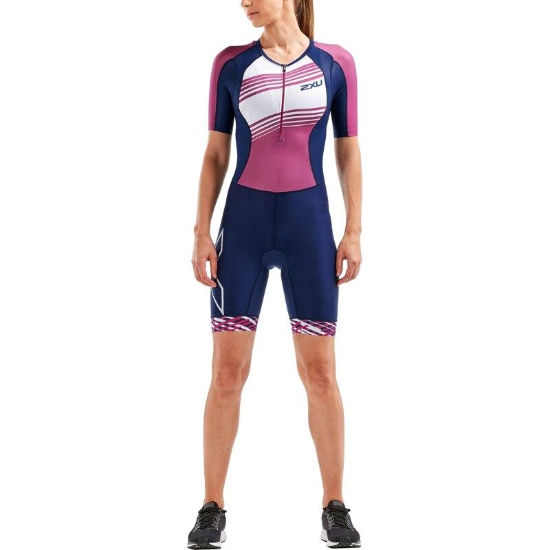 Женский компрессионный стартовый костюм для триатлона 2XU серия Compression (размер S, цвет Синий/Вишневый)