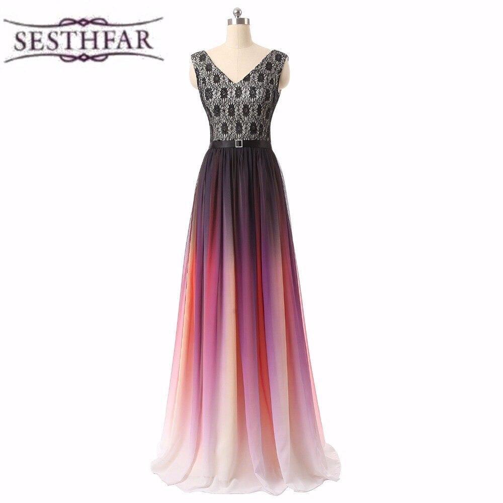 2017 New Sleeveless Soft Chiffon Lace Up Rainbow Gradient Color Bridal Dress Prom Dress Bride Formal Bridal Dresses LFDZC111