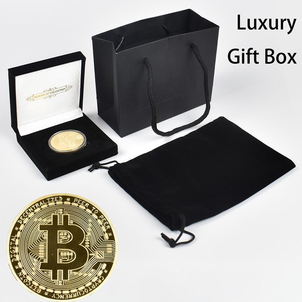 Pièce en or plaqué Bitcoin avec boîte-cadeau de luxe et sac à main