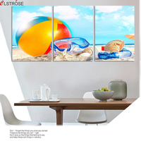 CLSTROSE Modern Hot Summer Beach Canvas Painting Ball Diving Mirror Shell Decorative Pictures On Wall For Living Room