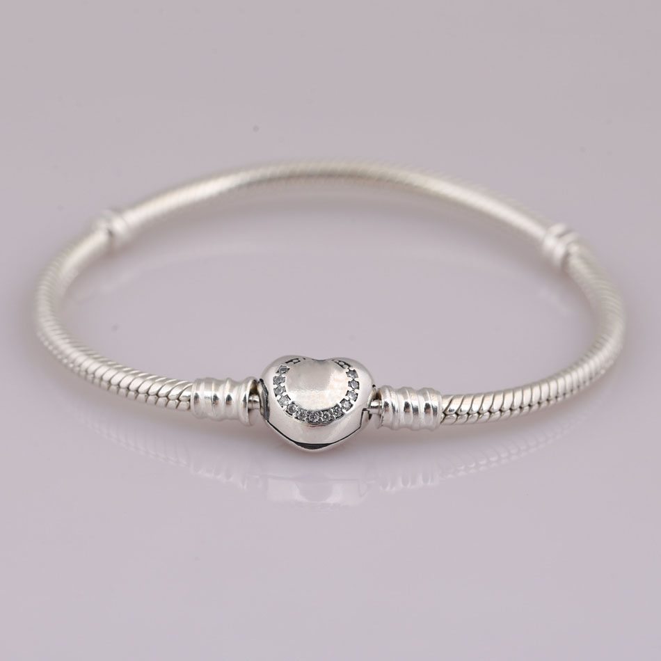 Authentic 925 Sterling Silver Bracelet Bangle for Women Wishful Heart Signature Clasp fit Pandora Beads Charms Pendants DangleAuthentic 925 Sterling Silver Bracelet Bangle for Women Wishful Heart Signature Clasp fit Pandora Beads Charms Pendants Dangle