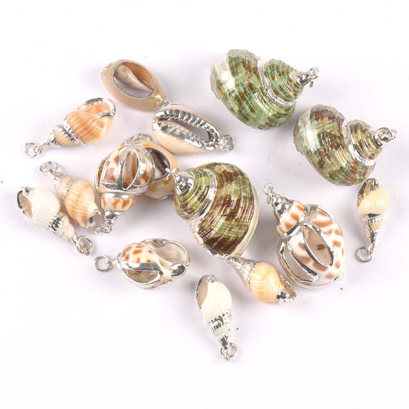 5 Design Natural Hollowed-out Spiral Shell Silver Plated For DIY Handmade Pendant SeaShells Home Decoration 5pcs TRS0305