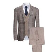 2019 nova xadrez dos homens verificar ternos de negócios masculino festa de casamento ternos casuais 3 peça feita sob encomenda alta qualidade ternos jaqueta colete calça