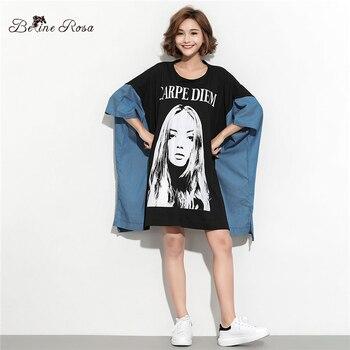 BelineRosa 2019 Women's Large Size Dresses European Fashion Ladies Pattern Batwing Sleeve Tunic Dress HS000616