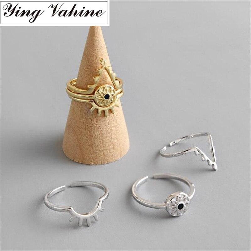 Ying Vahine 100% 925 Sterling Silver Devil's Eye & Eyelashes Open Rings For Women