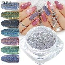 Holographische Laser Glitter Pulver Nagel Pigment Pulver Gradienten Spiegel Wirkung Nail art Chrome Pailletten Glänzende Polnischen Staub CH1028