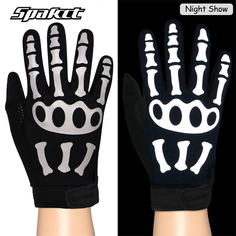 Cycling Bike Gloves Touch Screen Full Finger Bicycle Gloves Reflective Skeleton