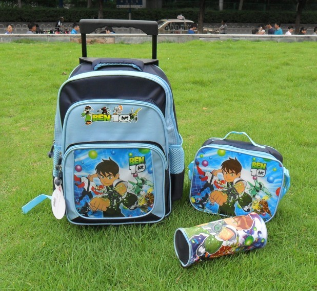 Cartoon schoolbags Car Spider Man Ben 10 School Bag Boys Trolley bags+ Luch bag +PenBag Kids Wheeled schoolbag set - fashion children's swimwear clothing store