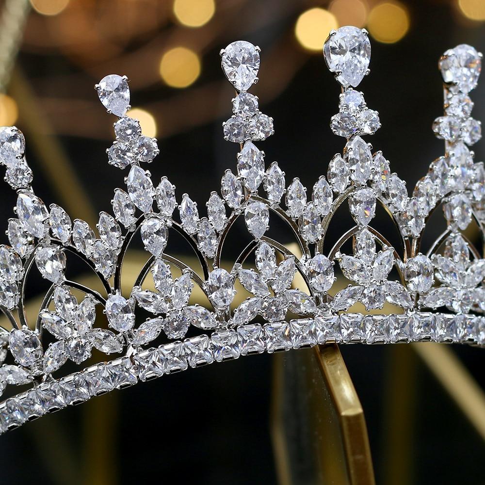 Alta calidad circonio cubico romantico nupcial flor tocado corona dama de honor de boda accesorios para el cabello joyeria-ใน เครื่องประดับผม จาก อัญมณีและเครื่องประดับ บน   3