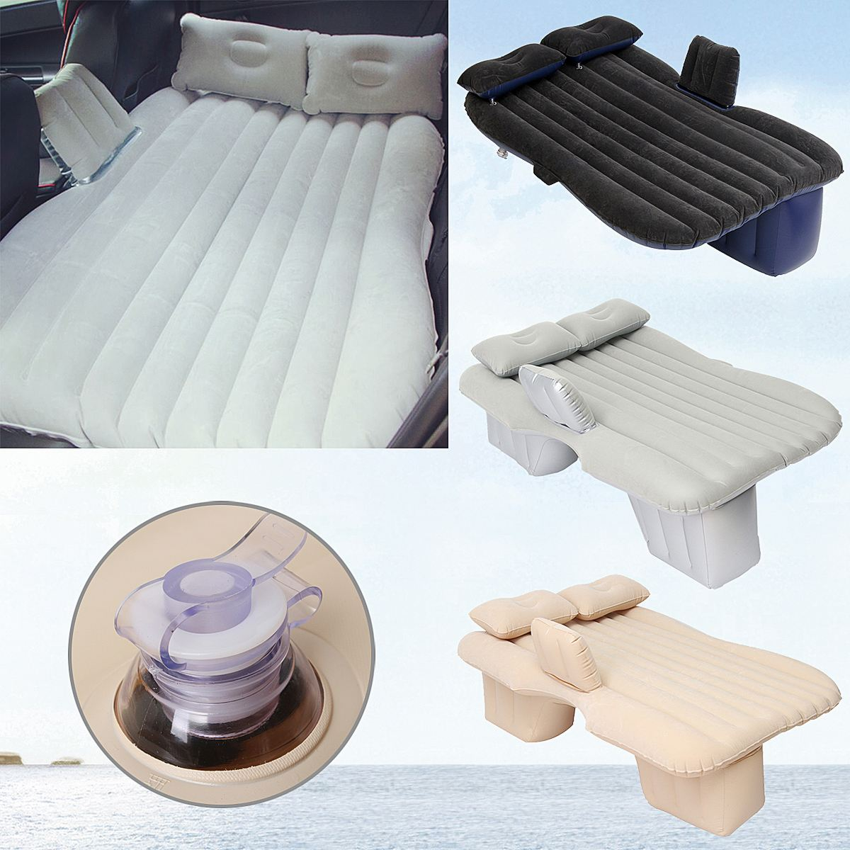 Good Quality Flocking Cloth Car Back Seat Cover Air Mattress Travel Bed Inflatable Mattress Air Bed Inflatable Bed Camping Mat car inflatable mattress car shock bed on board flocking inflatable bed separate type air cushion bed car split car bed