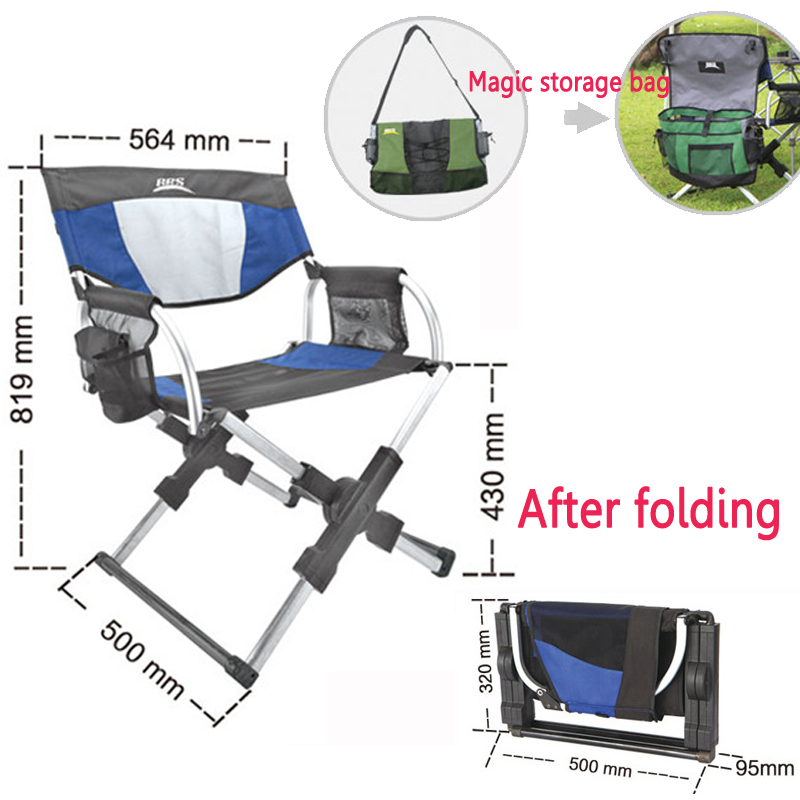 Portable Oxford cloth Fishing Chair High intensity aluminum alloy Magician Folding Camping Director Chair with bag bearing100kg portable fishing chair with cool bag oxford cloth stool with large capacity storage zipper ice bag fishing chair bag 28x29x60cm