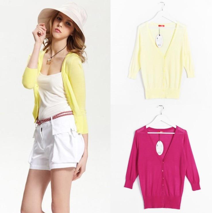 18 Dulces Colores Otoño Verano Primavera Mujeres Con Cuello En V de Punto Casual Suéteres Sueltos Cardigans Señora Tejer Outwear