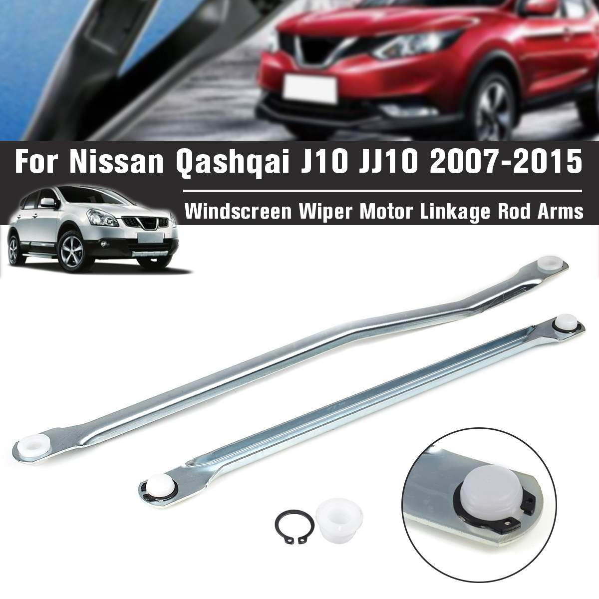 2PCS Windscreen Wiper Motor Linkage Rod Arms For Nissan Qashqai J10 JJ10 2007-2015 upgraded high-quality plastic smoother(China)