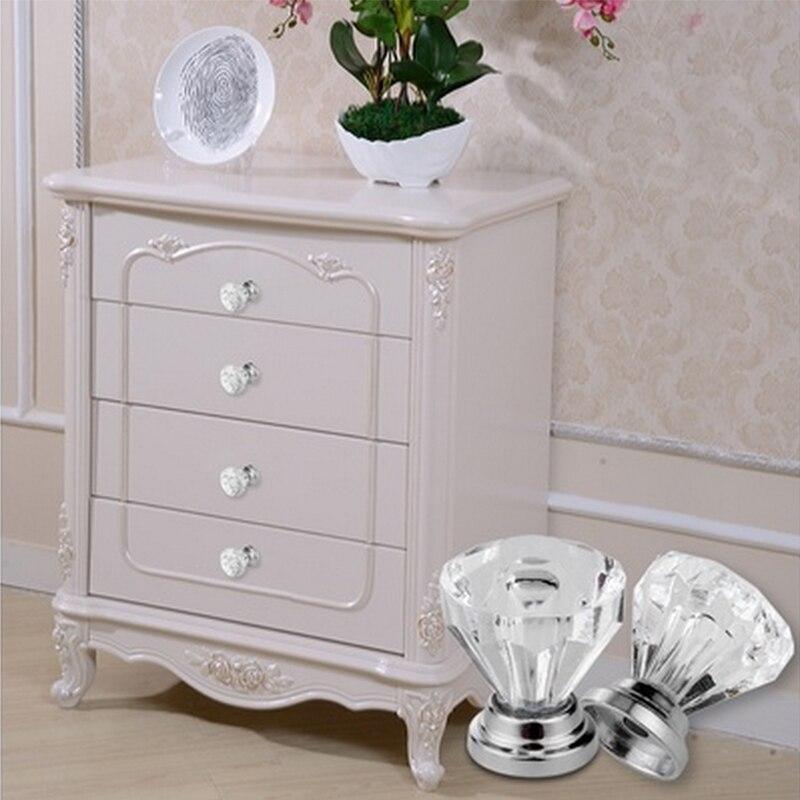 Hot 30mm Clear Diamond Shape Design  Glass Knobs Crystal Acrylic Door Drawer Cabinet Screw Pull Handle Knob Furniture Handle Har