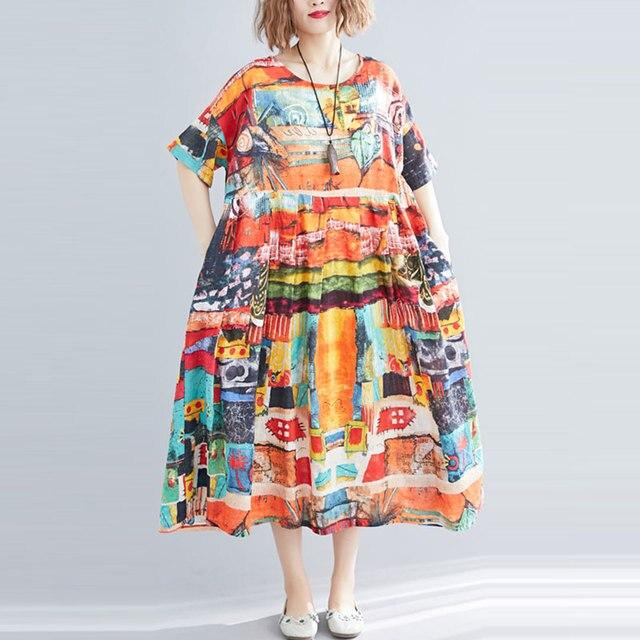 F & je בתוספת גודל נשים שמלת קיץ Loose עטלף שרוול ארוך שמלת כותנה נשי בציר הדפסת שמלות גדול ליידי vestidos Y927