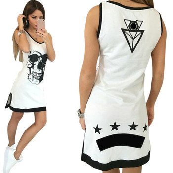 Women, Fashion Skull Print Mini Dress Casual V-Neck Sleeveless