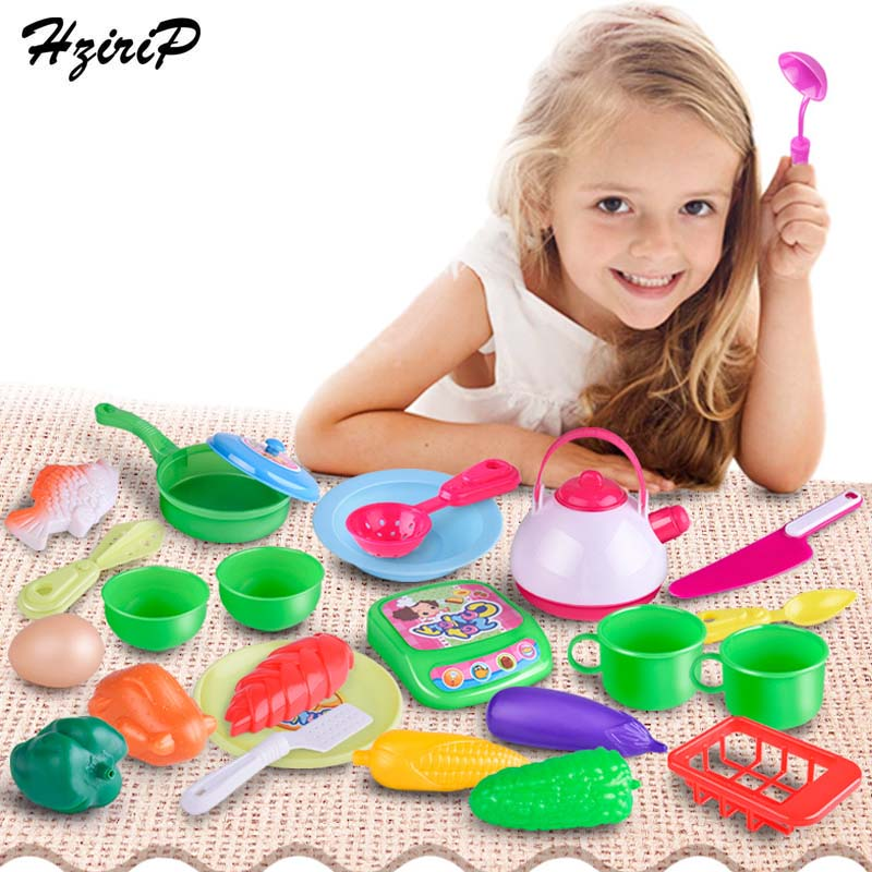 HziriP 25pcs/set New Fruit Food Kitchen Toys Pretend Play Baby Plastic Safety Tableware Education Toy For Kids Birthday Gifts
