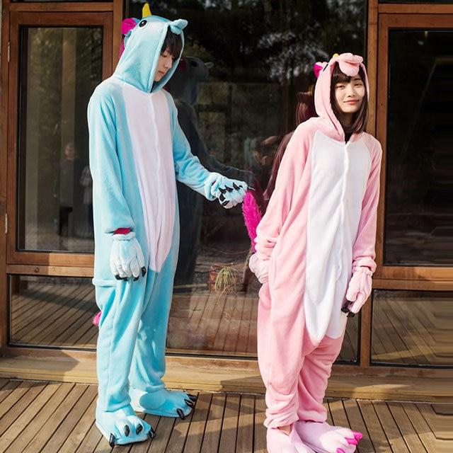 winter unicorn flannel cartoon pajamas hooded animal adult pyjamas adult-unicorn-pajamas for couple pijama de unicornio p126
