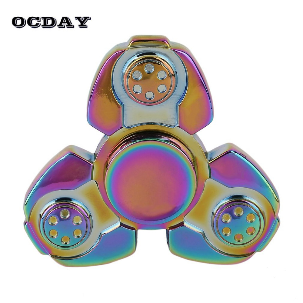 OCDAY EDC Tri Spinner Fidget Toy Rotating Finger Spinner Hand Metal Fidget Spinner Autism ADHD Kids