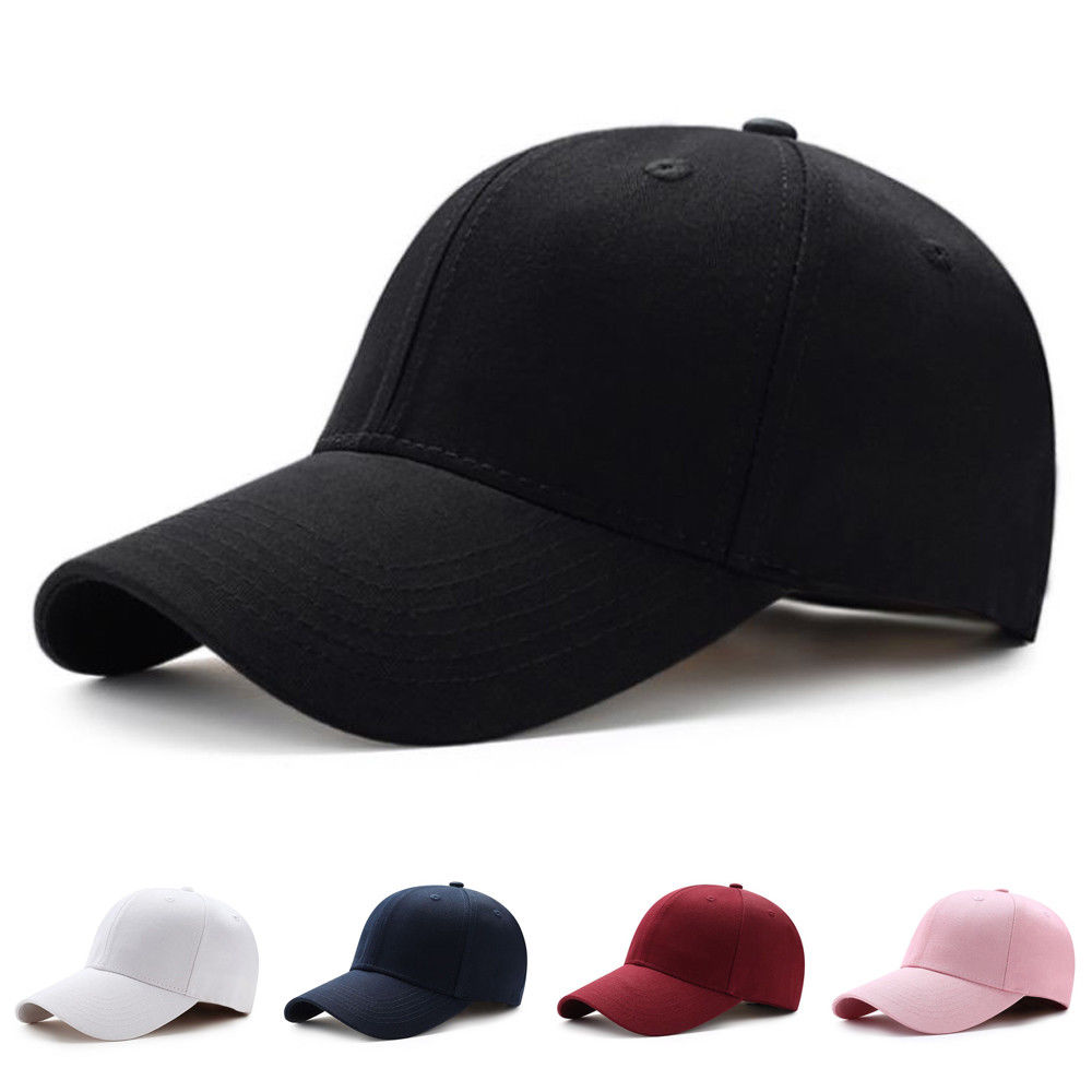 Men Women Plain Curved Sun Visor Baseball Cap Hat Solid Color Fashion Adjustable Caps(China)