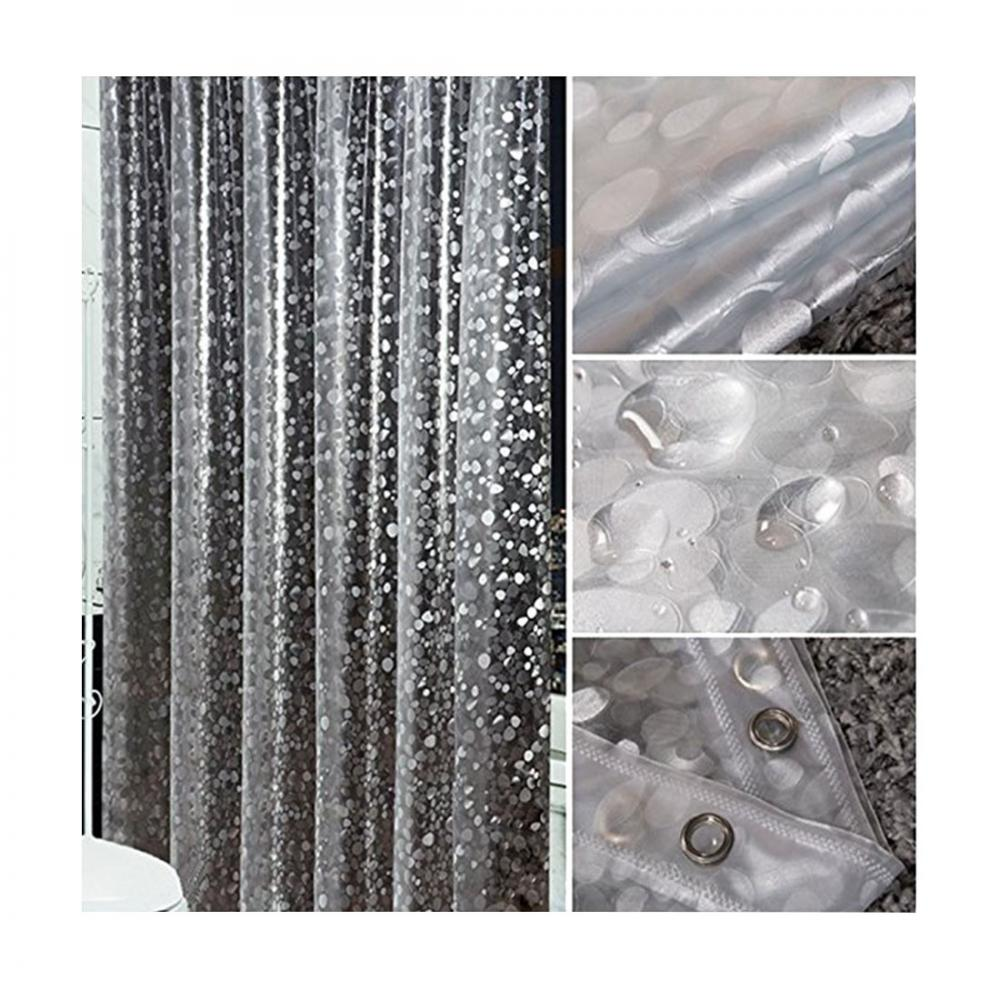 Image 2 - New Popular PVC Waterproof Shower Curtain Thickening Three Dimensional Printed Transparent Bath Curtain for Bathroom Decor-in Shower Curtains from Home & Garden