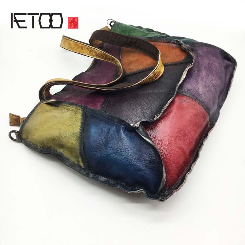 AETOO Leather handbags patchwork 2018 new the first layer of leather lady retro handbag simple manual rub shoulder bag-in Top-Handle Bags from Luggage & Bags    2