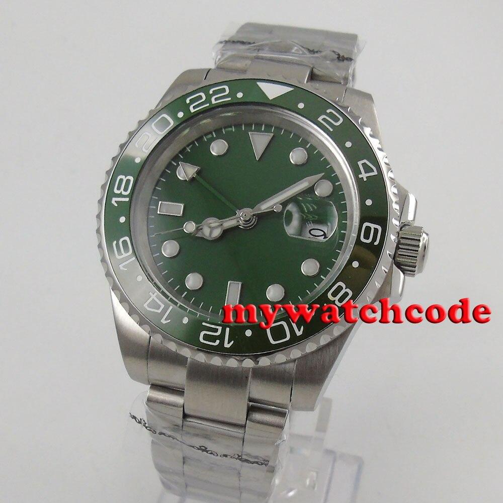 40mm Bliger green sterile dial luminous GMT date ceramic bezel sapphire glass automatic mens watch B17940mm Bliger green sterile dial luminous GMT date ceramic bezel sapphire glass automatic mens watch B179