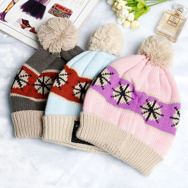 f4a5113e155c1 HANCHAN Jewelry Winter Snow Flower Cap Beanie Warm Knitted Bobble Kids Fur  Pompom Hat Cotton Hats Caps