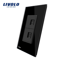 US AU Standard Livolo Luxur Telephone Computer Socket With Black Pearl Crystal Glass VL C591TC 12
