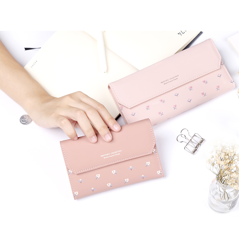 3 SIZE Latest Women Floral Leather Wallet Fashion Short Long Zipper Hasp Purse Money Phone Card Holder Coin Pocket Carteras Sac 1