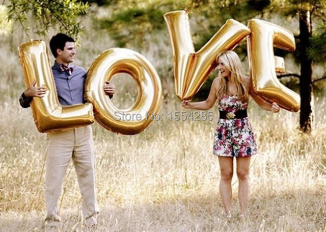 4pcslot 40inch big gold letter love globos love balloon wedding party