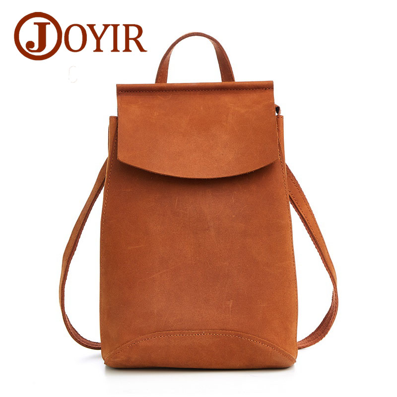 JOYIR Women Backpack Genuine Leather Vintage School bags for Teenagers Girls Female Backpacks Women Travel Bags
