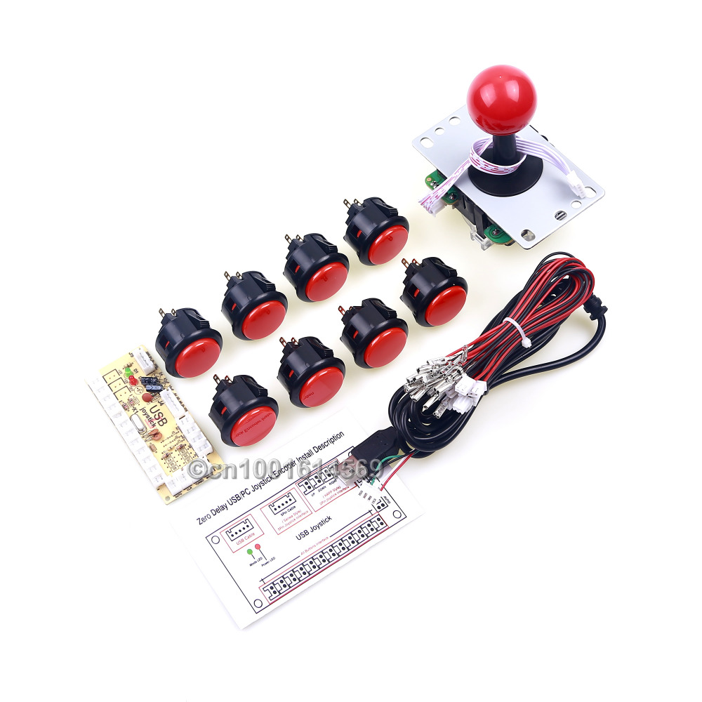 Arcade Bundle Classic Video Game Kits 30mm Sanwa Push Buttons + Arcade Sticks + USB Connector Street Fighters Joystick Consoles pandora s box arcade joystick for ps3 controller computer game arcade sticks new street fighters joystick consoles